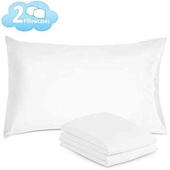 Ado-ric Pillow Cases - 2 Pack Queen Size Pillowcases 100% Brushed Microfiber, Ultra Soft - Envelope Closure End - Wrinkle, Fade, Stain Resistant - White