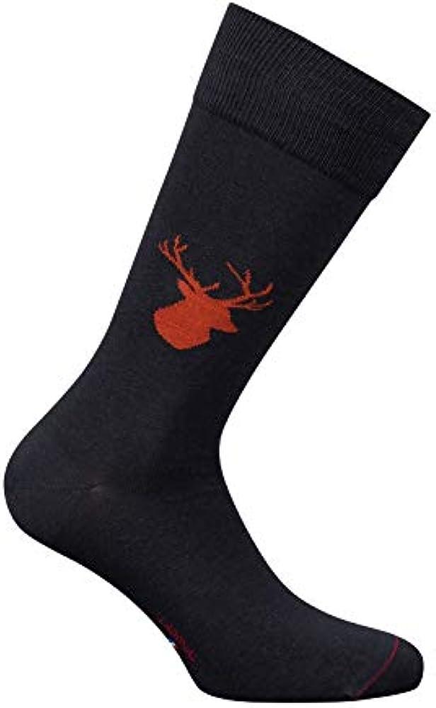 Labonal - Medias calcetines de ciervo de algodón, gris, para hombre, diseño de medias calcetines, fabricado en Francia fr, fabricación francesa, sin costuras gris 39/42: Amazon.es: Ropa y accesorios
