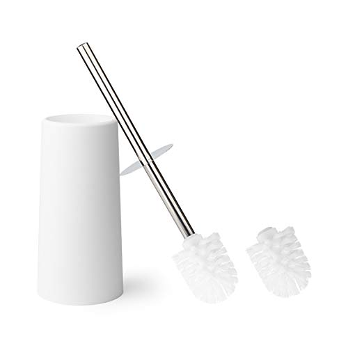 (KEEGH Toilet Brush and Holder Modern Design Heavy Duty Stainless Steel Handle Compact Toilet Bowl Cleaner Set with Replacement Brush Head (White))