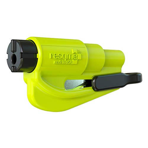 "RESQME 01.300.09 Safety Yellow 3"" Original Keychain Car Escape Tool, Made in USA Seatbelt Cutter and Window Glass Breaker 2 in 1"