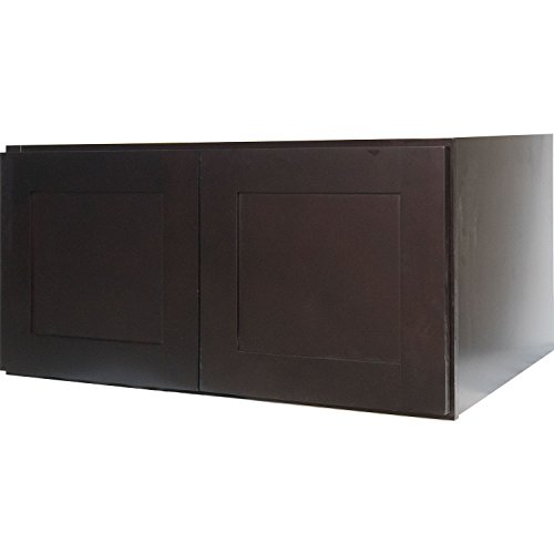 Everyday Cabinets 36 Inch Double Door Bridge Wall Cabinet in Shaker Espresso with 2 Soft Close Doors 36″ x 18″ x 12″ RTA