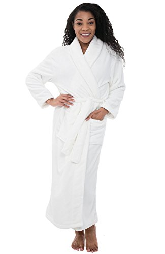 Alexander Del Rossa Womens Fleece Robe, Long Bathrobe, 1X 2X White - Microfleece Bathrobe Womens
