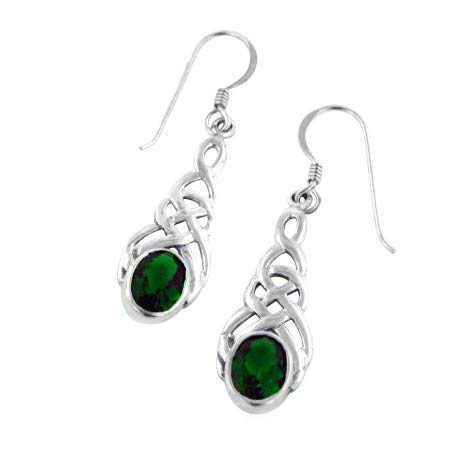 - Sterling Silver Celtic Knot Emerald-Green Glass Hook Earrings