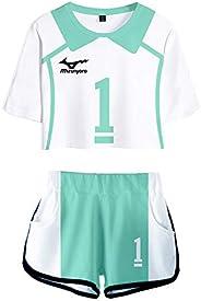 PandaOne Basic Haikyuu!! T-Shirt Suit Volleyball Sports Crop Tops and Shorts Aoba Johsai High School Tracksuit