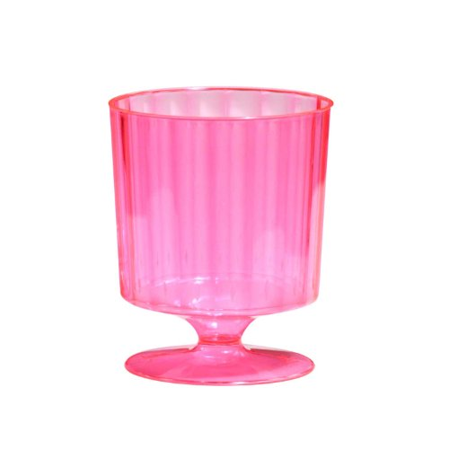 Party Essentials Hard Plastic One Piece 8-Ounce Wine Glasses, Neon Pink, 10 Count