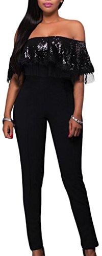 Oberora Women Off Shoulder Sqeuins Ruffles Leotard Pant Jumpsuits 31RWmH6 f3L