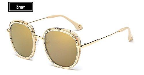 brown Gris Gafas Mujeres Ojo Gafas Estructura Famosa la Sol de Gafas de Aleación Sunglasses Negro de Mujer de TL Metal piernas de Sol Gato qAPB5gw