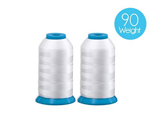 Set of 2 Huge White Spools Bobbin Thread for Embroidery Machine and Sewing Machine - 5500 Yards Each - Polyester -Embroidex 90 Weight