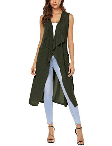 - URRU Women's Open Front Sleeveless Long Flyaway Cardigan Vest Army Green XL