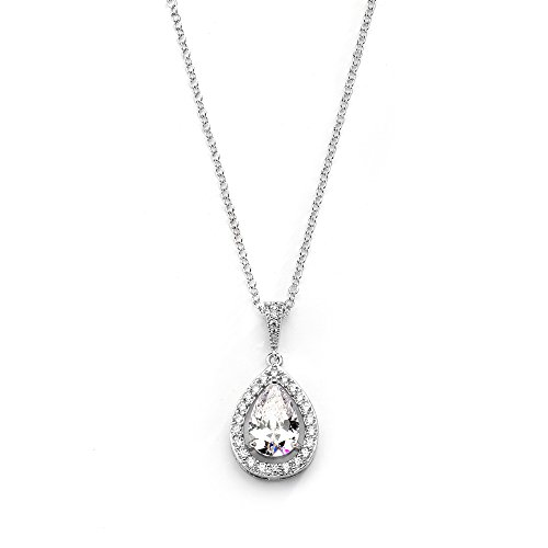 Mariell CZ Bridal Necklace Pendant with Pave Frame Halo and Bold Pear-Shaped Teardrop - Platinum Plating