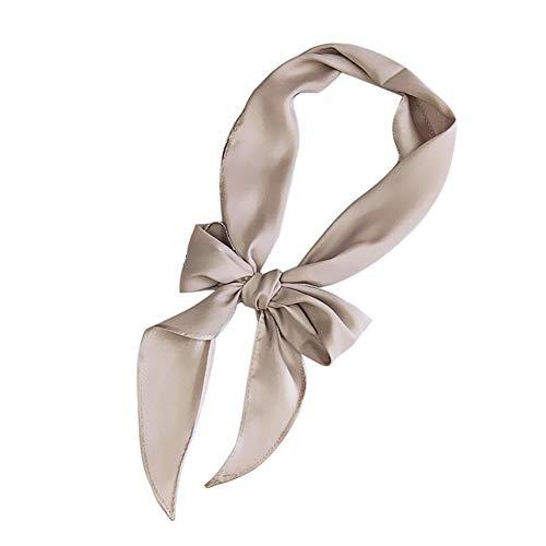 (Afco Women Silky Square Scarf Headband Neckerchief Wrap Head Decor Grey)