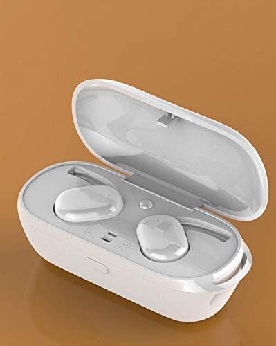 Cetengkeji ミニブルートゥースイヤホン5.0 tWSワイヤレスヘッドセット付き充電ボックスタッチコントロールスポーツイヤステレオコードレスイヤホン (Color : White)