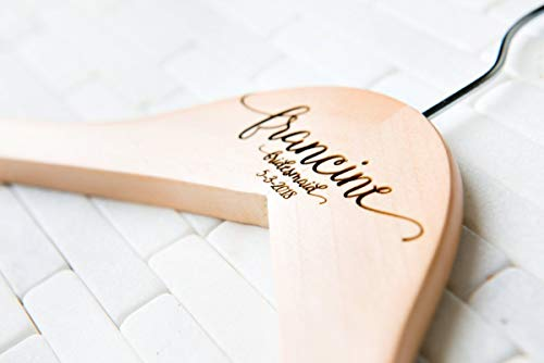 Personalized, Engraved Wedding Dress Hanger by Left Coast Original
