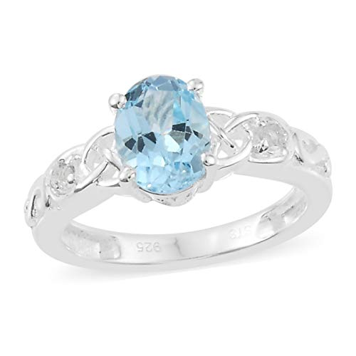 Natural Gemstones Birthstone 925 Sterling Silver Oval Sky Blue & White Topaz Statement Ring for Women Gift Jewelry Size 8 Cttw 1.2