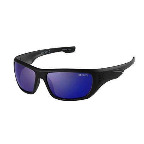 NASCAR S-Stream 104P Polarized Oversized Wrap Style Sunglasses, Matte Black, 63 mm