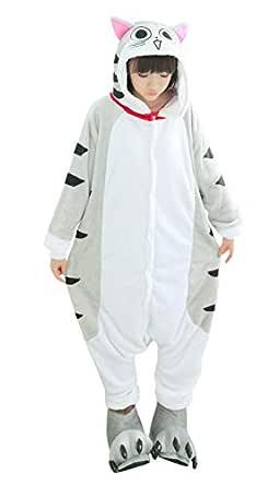 FunnyCos Adult Onesie Animal Pajamas Unisex Halloween Cosplay Costume Loungewear Chi's Cat L