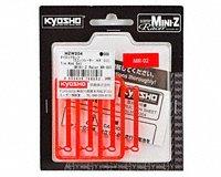 Kyosho Tie Rod Set (4) MZW204 for use with the Kyosho Mini-Z MR-02 cars.