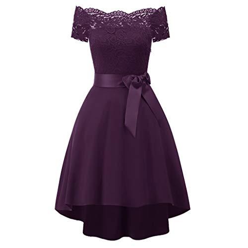 Princess Party Dress, QIQIU Women's Vintage Lace A-line Cocktail Short Sleeve Solid Swing Evening Prom Dress Purple