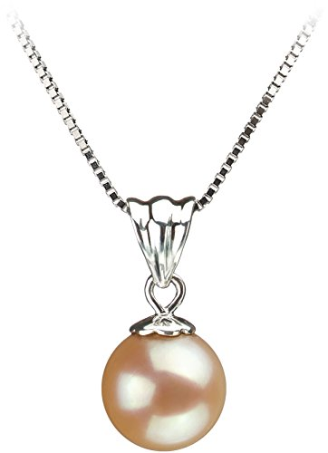 Nancy Pink 9-10mm AA Quality Freshwater 925 Sterling Silver Cultured Pearl Pendant For Women (Necklace Fw Pendant Pearl)