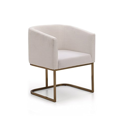 VIG Furniture Modrest Yukon Collection Modern Fabric Upholstered Dining Chair with Antique Brass Finished Stainless Steel, White