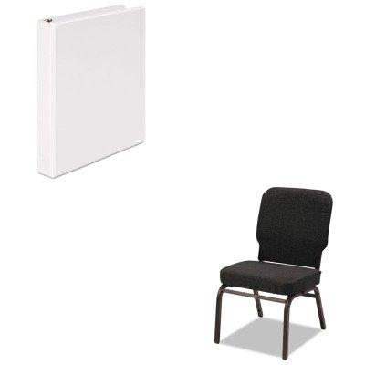 Economy Stack Chair - KITALEBT6610UNV20962 - Value Kit - Best Oversize Stack Chair (ALEBT6610) and Universal Round Ring Economy Vinyl View Binder (UNV20962)