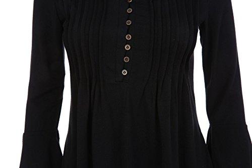 Tunica Minetom Nero Blusa A V Bottone Loto Casual Casuale Maglietta Manica Tops Di 3 Scollo Donna Foglia Elegante Camicia T 4 shirt wRvr1RZXqx