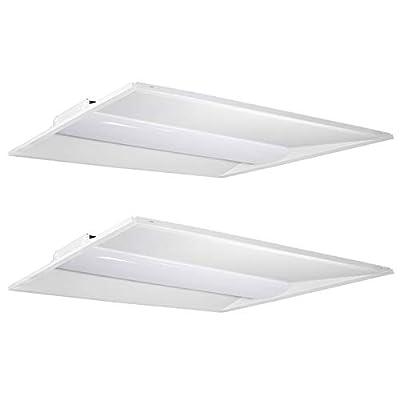 Hykolity Architectural LED Troffer 2x4 FT 50W 6500lm 0-10V Dimmable LED Volumetric Troffer, Drop Ceiling Panel Light Eligible for Rebate Program