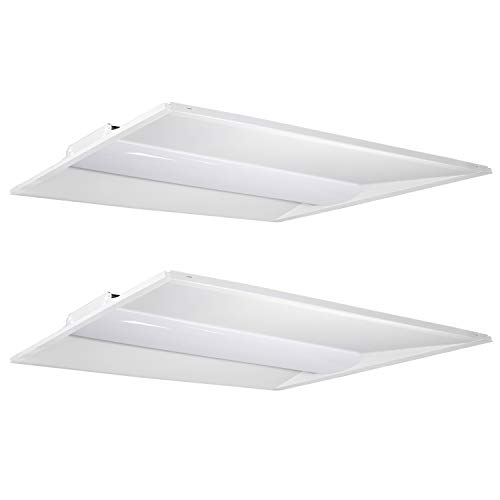 Hykolity Architectural LED Troffer 2x4 FT 50W 6500lm 5000K, 0-10V Dimmable LED Volumetric Troffer, Drop Ceiling Panel light Eligible for Rebate program[3 Lamp 4FT 32W T8 Fluorescent Equivalent]-2 Pack