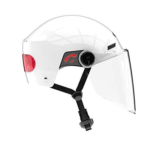 Unisex-Adult Bluetooth Helmet, Flip up Dual Visors Face Helmet,Built-in Integrated Intercom Communication System(Range 10 m,FM Radio,Waterproof),White (Integrated Intercom)