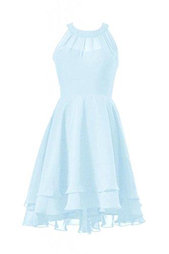 Daisyformals Robe De Bal Haut-bas Courte Robe De Demoiselle D'honneur En Mousseline De Soie Dos Nu (cst2225) # Bleu 40 Glace