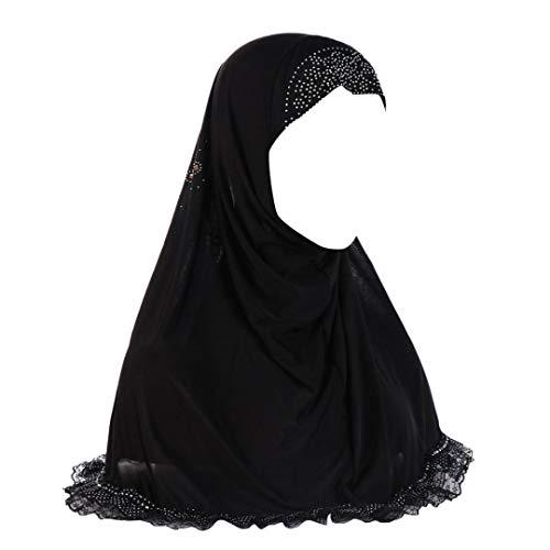 Price comparison product image JPOQW Women Chemo Turban Hat Lace Point Drill Stitching Headscarf Muslim Patch Hijab Caps