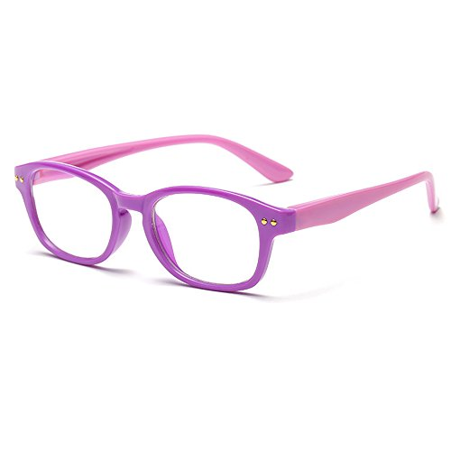 Fantia Kids Eyeglass Frame Children Soft Non-Optical Frames Clear Lens (Purple)