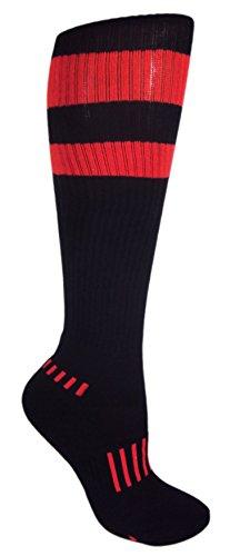MOXY Socks Black with Red Vintage 70's Stripes Athletic Knee-High Socks