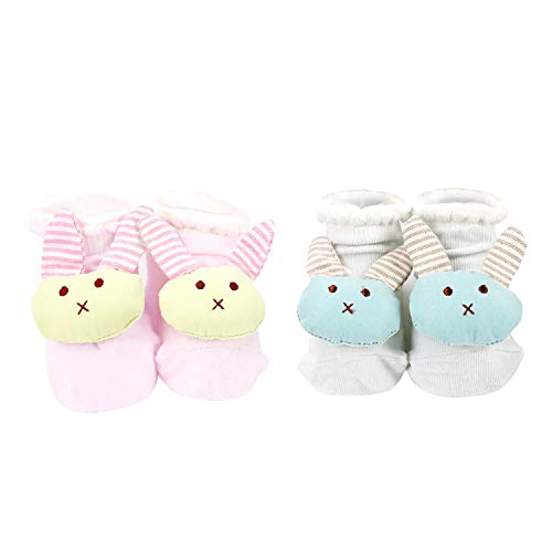 Pachoochi Baby Bunny Foot Rattle Socks, Fun Toy Bootie, Newborn Size 0-6 -