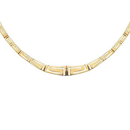 (14k Yellow Gold Shiny Graduated Greek Key Fancy Necklace With Box Catch Clasp - 17 Inch)