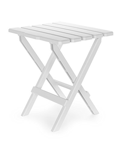 Camco 51685 Regular Adirondack Portable Outdoor Folding Side Table, Perfect for The Beach, Camping, Picnics, Cookouts and More, Weatherproof and Rust Resistant - White ()