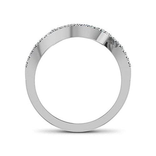 14K Or blanc, 0,21carat Diamant Taille ronde (IJ   SI) en diamant