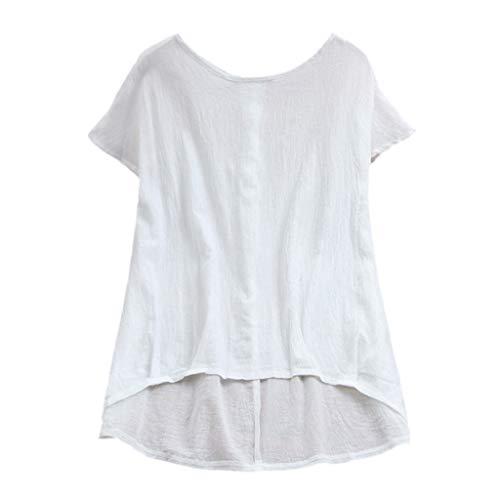 (OrchidAmor Women Lady Linen Solid T-Shirt Casual Plain Loose Blouse Shirt Asymmetrical Tops White)