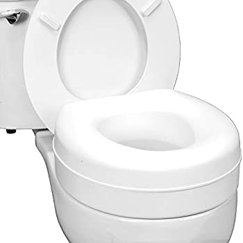 HealthSmart Portable Elevated Raised Toilet Seat Riser that fits Round and Elongated Seats, White