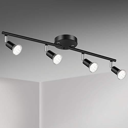 Unicozin LED 4 Light Track Lighting Kit, Black 4 Way Ceiling Spot Lighting, Flexibly Rotatable Light Head, Track Light…