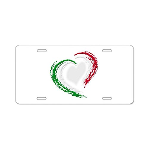 CafePress - Italian Heart - Aluminum License Plate, Front License Plate, Vanity Tag