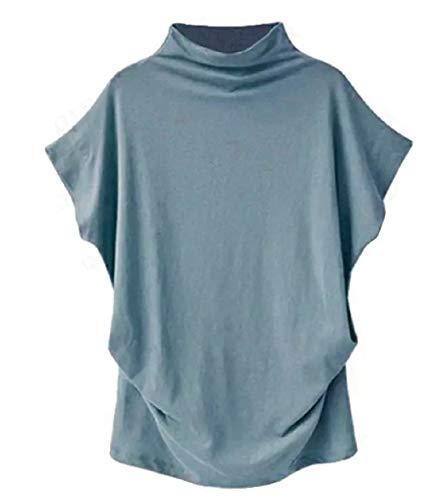 VLDO Sweatshirts for Women Casual Loose Linen Soild Lace Splice Button Short Sleeve Tops (Light Blue, M) ()