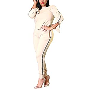 Zimaes-Women Casual Cozy Long-Sleeve Pure Color Deep V-Neck Jumpsuit Romper