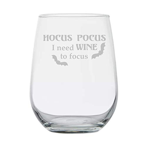 Hocus Pocus I Need Wine to Focus - 15oz Stemless Wine Glass - Halloween Kitchen - Witch - Homemade - Holiday Houseware - Hocus Pocus - Movie Theme - Halloween Wine - Costume