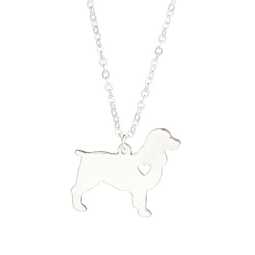 YuQiang Silver English Springer Spaniel Necklace Dog Pendant Jewelry Breed Pet Jewelry Memorial Gift Lovers
