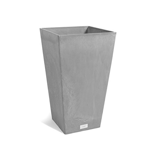 Veradek Midland Tall Square Planter, 24-Inch Height by 13.5-Inch Width, Charcoal (MV24C)