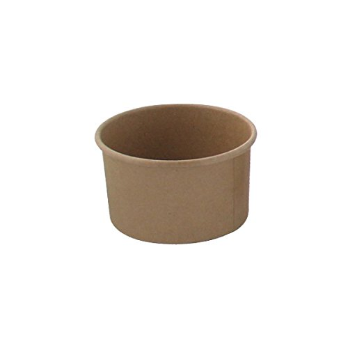 """Brown Kraft Soup Cups (Case of 50), PacknWood - Recyclable Paper Bowls for Hot & Cold Foods (8 oz, 3.6"""" x 2.3"""") PK210SOUPK8K"""