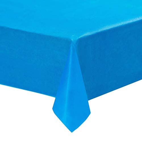Blue Plastic Tablecloths - 12-Pack, 54 x 108 Inches Table Cloths, Rectangular Disposable Table Covers, Fits up to 8-Foot Long, Buffet Banquets or Long Picnic Tables, Party Decoration Supplies, 4.5 x 9]()