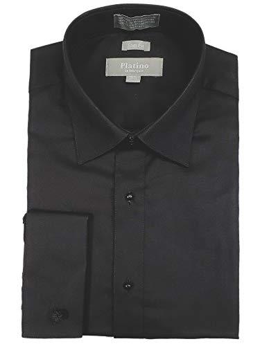 Marquis Men's Black Textured Cotton Slim Fit Tuxedo Shirt, Neck 17.5, Sleeve 36-37