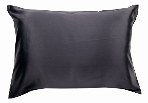 100% Silk Pillowcase for Hair Zippered Luxury 25 Momme Mulberry Silk King Black